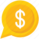 business, chat, dollar, money chat icon