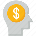brain, coin, dollar, head, planning, saving plan, think icon