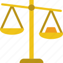 business, finance, marketing, scales, tipped icon