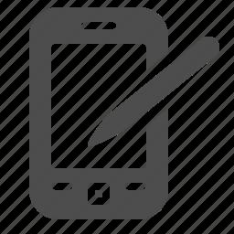 mobile phone, organizer, pda, phone, smartphone, stylus, telephone icon