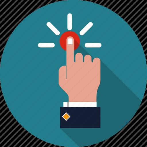 emergency, finger, gesture, hand, pointer, press, push icon