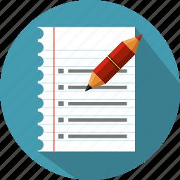 checklist, feedback, file, list, note, pen, survey icon