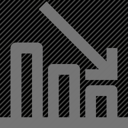 arrow, bar, decrease, graph icon