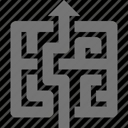 arrow, business, challenge, exit, maze, navigate, solution, up icon