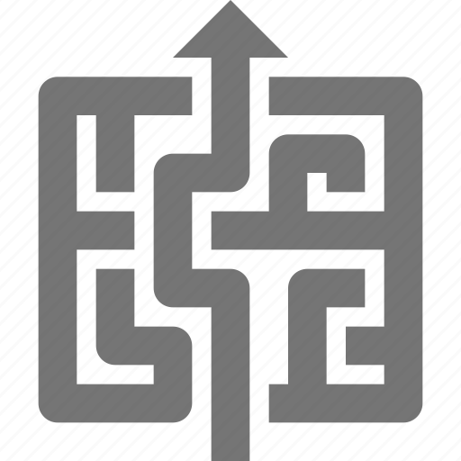 arrow, business, challenge, exit, maze, navigate, solution, up icon