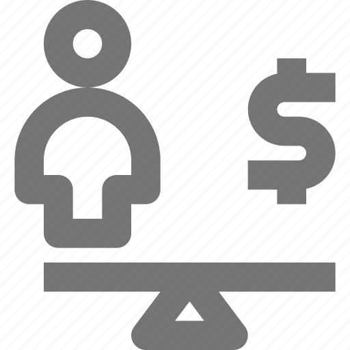 balance, equal, human, life, money, person, scale, work icon