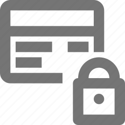 card, credit, debit, lock, payment, security, shopping icon