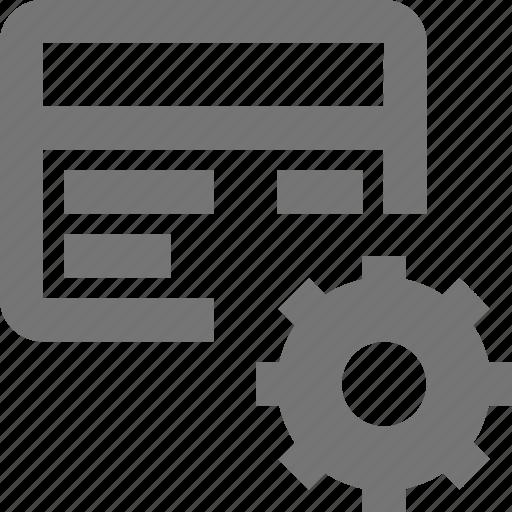 card, cog, configuration, credit, debit, gear, preferences, settings icon