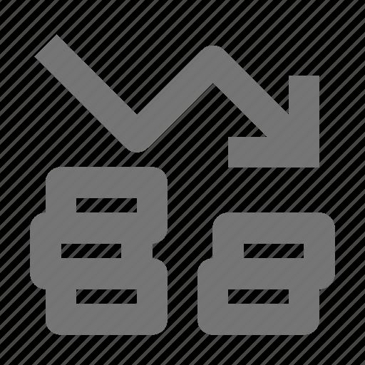 arrow, coins, decrease, discount, down, stack icon