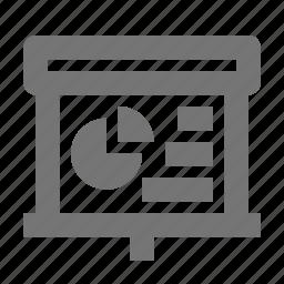 graph, pie, projector, screen icon