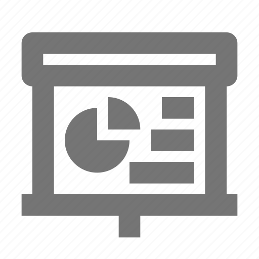 analytics, bar, chart, graph, pie, projector, screen, statistics icon