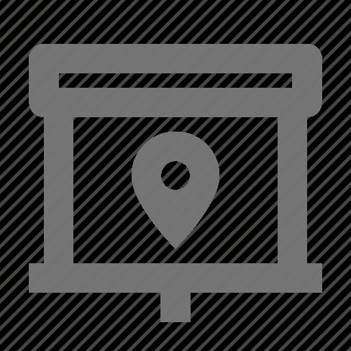 location, marker, navigation, pin, pointer, presentation, projector, screen icon