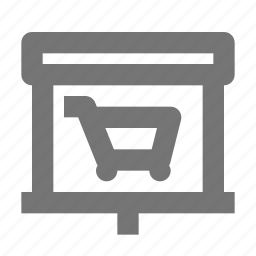 cart, projector, screen, shopping icon