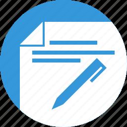 blogging, document, edit, pen, write, write down, writing icon