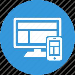 adaptive, design, responsive, responsive design, screen, web icon