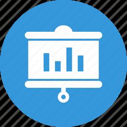analysis, chart, graph, presentation, screen, treining icon