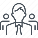 businessman, human, partnership, team, team leader, teamwork icon