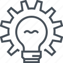 bulb, creative, gear, idea, light, problem, solve icon