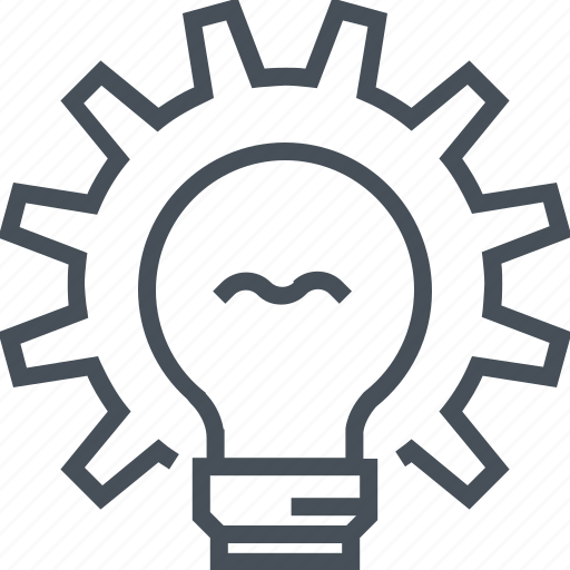 bulb, creative, gear, idea, light, problem, solve icon