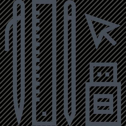 cursor, design, pen, pencil, ruler, tools, usb icon