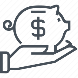 coin, funds, hand, investment, money, piggy bank, save money icon