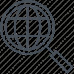 analysis, globe, magnifier, market, search icon