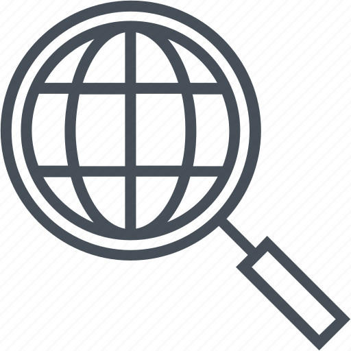 analysis, globe, magnifier, market, search icon
