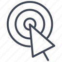 bullseye, business, click, cursor, pointer, target icon