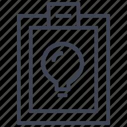 bulb, business, clipboard, idea, light icon