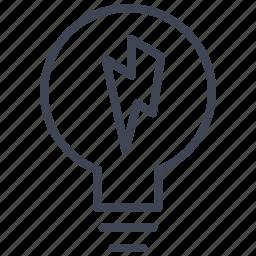 bolt, bulb, business, idea, light, lightening, lightning icon