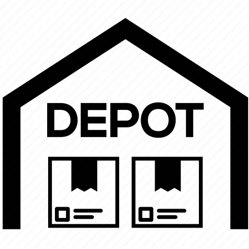 depot, storage garage, store, storehouse, supplies, vehicle, warehouse icon