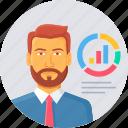 employee, presentation, business, graph, statistics, user