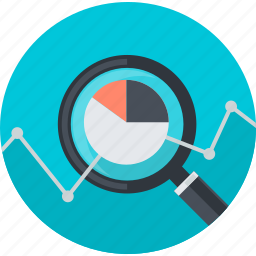 analysis, business, chart, flat design, research, round, statistics icon