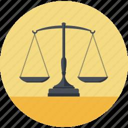 balance, business, flat design, law, lawyer, round icon