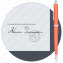 business, contract, document, flat design, round, signature icon