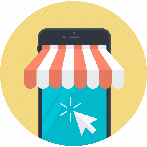 e-commerce, flat design, m-commerce, marketing, mobile, sale, shopping icon