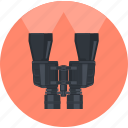 binoculars, browse, flat design, research, round, search icon