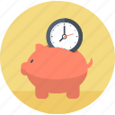 business, guardar, management, piggy bank, round, save, time icon