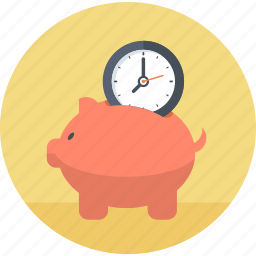 business, flat design, guardar, management, piggy bank, round, save, time icon