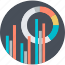 analysis, business, chart, flat design, round, statistics icon
