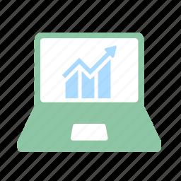 analysis, business, diagram, financial, laptop, rise, stock icon