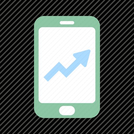 analysis, business, diagram, financial, mobile, rise, stock icon
