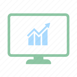 analysis, business, diagram, financial, monitor, rise, stock icon