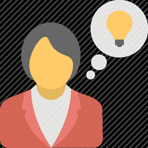 advertising, bright idea, businesswoman, luminous idea, success concept icon