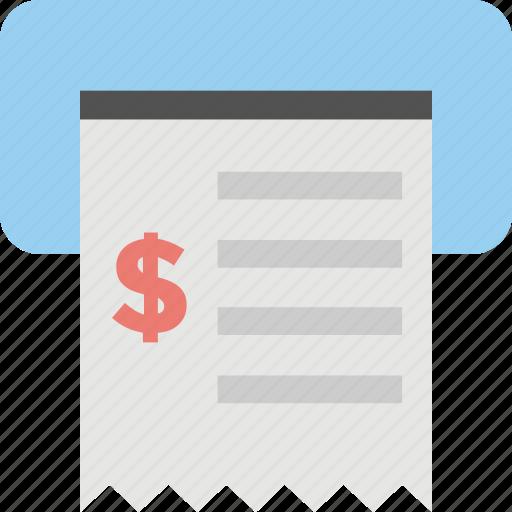 bank transaction, cash payment, invoice, payment receipt, sales receipt icon