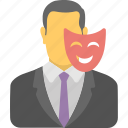 administrator, business owner, businessman mask, contractor, entrepreneur, financier, organizer icon