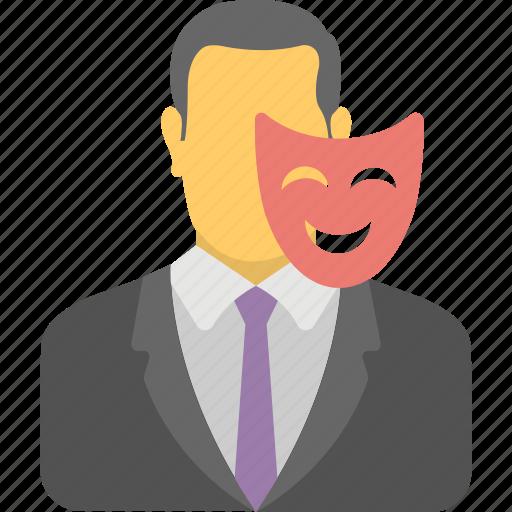 administrator, business owner, businessman mask, contractor, entrepreneur, financier, organizer icon
