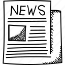 news, newsfeed, newsletter, newspaper, print media icon
