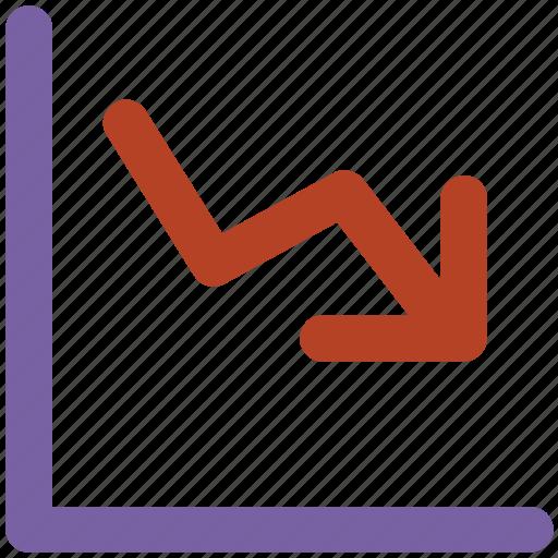 down arrow, economy down, finance, graph down, loss, money icon