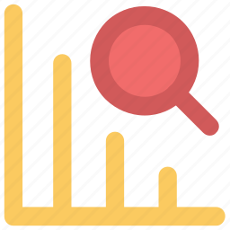 bar chart, chart, diagram, graph search, increasing, magnifying glass, view icon